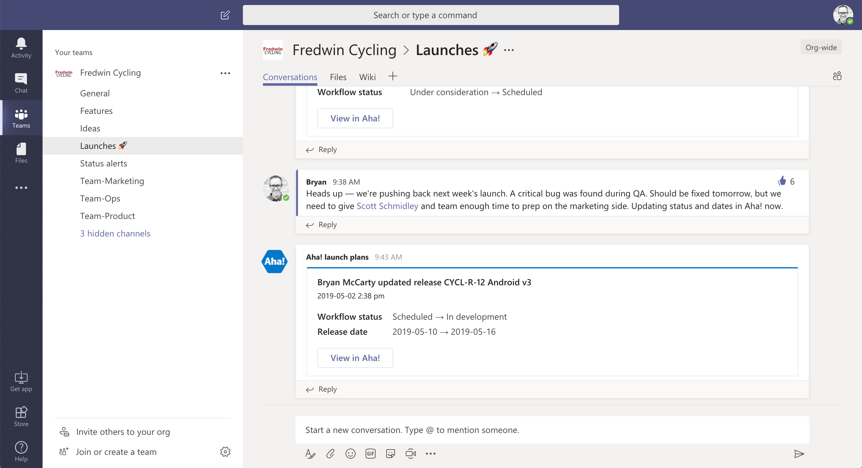 Launches channel in Microsoft Teams