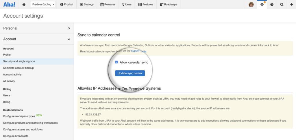 Allow sync to calendar option in Aha! account settings