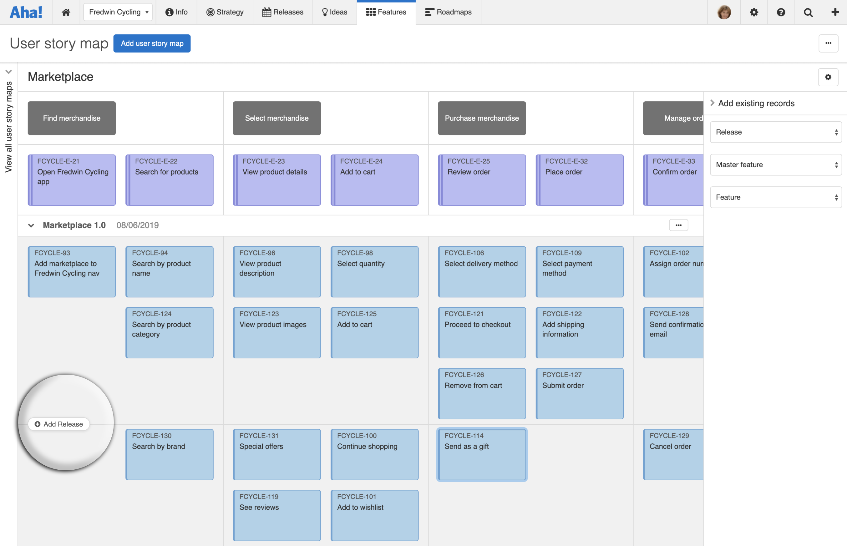 Add a release to a user story map in Aha!