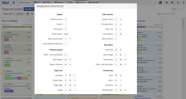 Keyboard shortcuts help modal