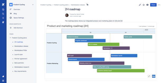 Aha! roadmap in Confluence