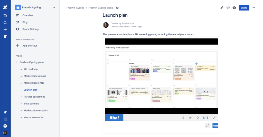 Aha! presentation embedded in a Confluence page