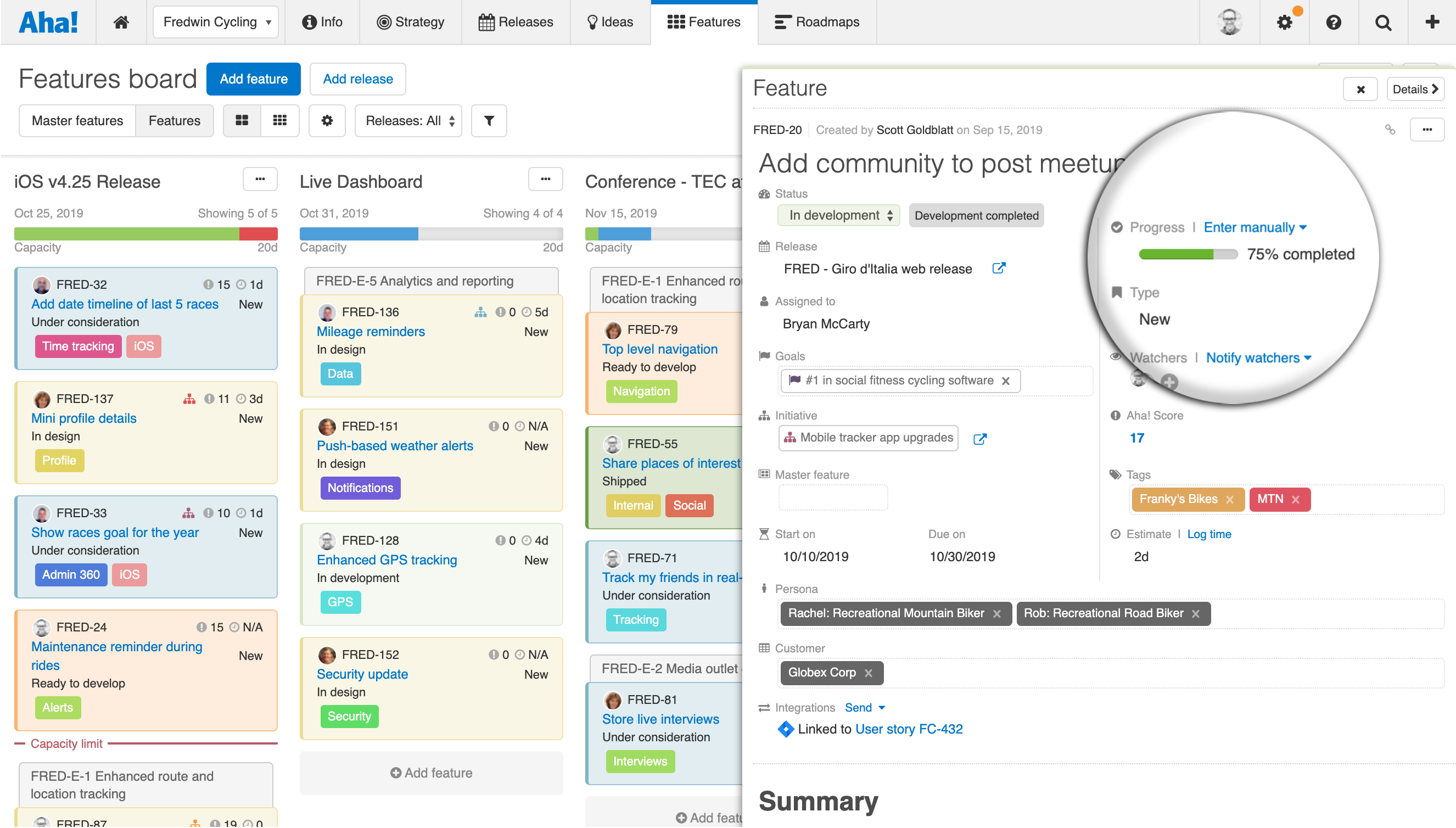Percent complete displayed in Aha! coming from Jira integration