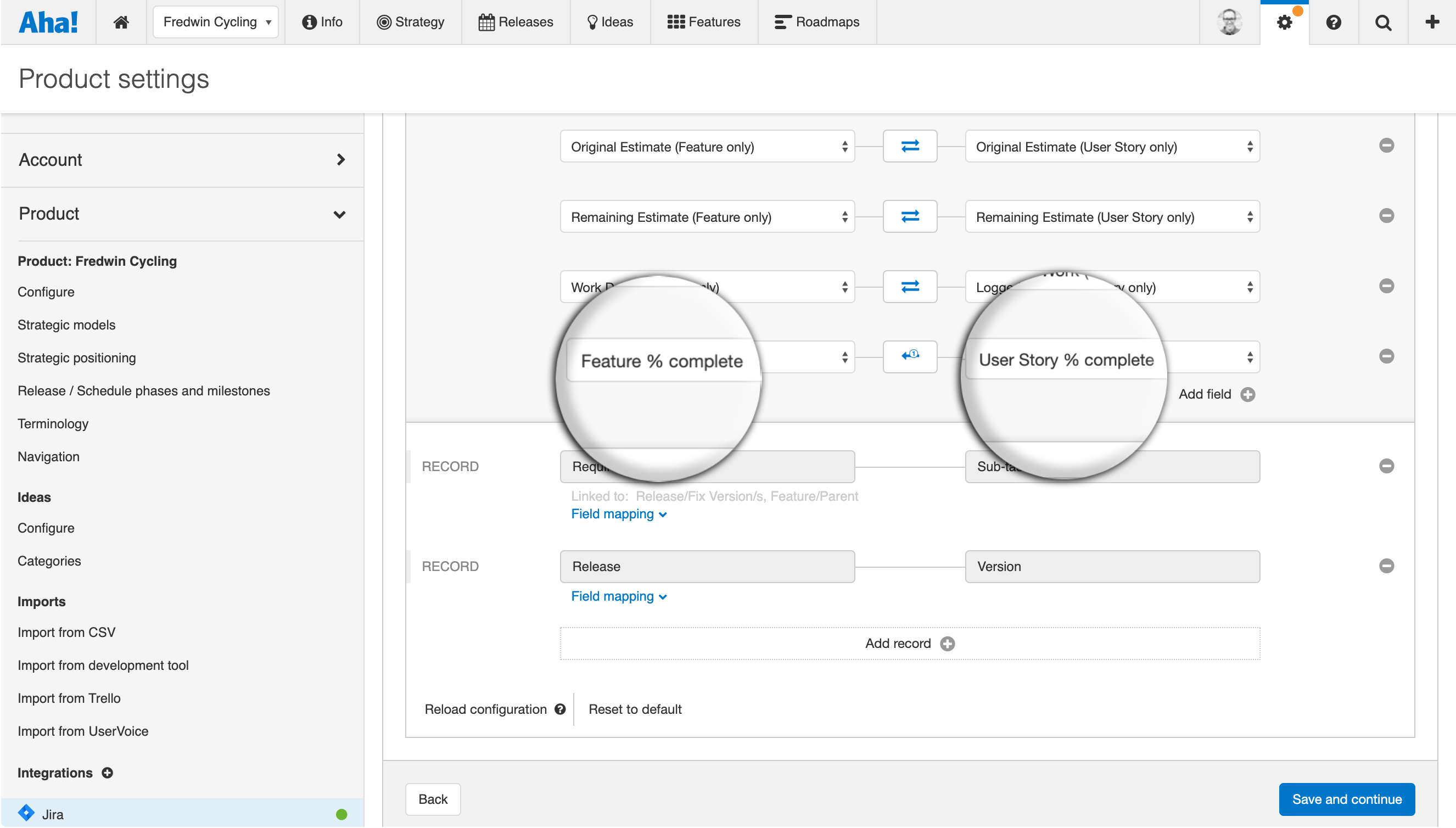 Integration setup to map Jira user story percent complete with Aha!