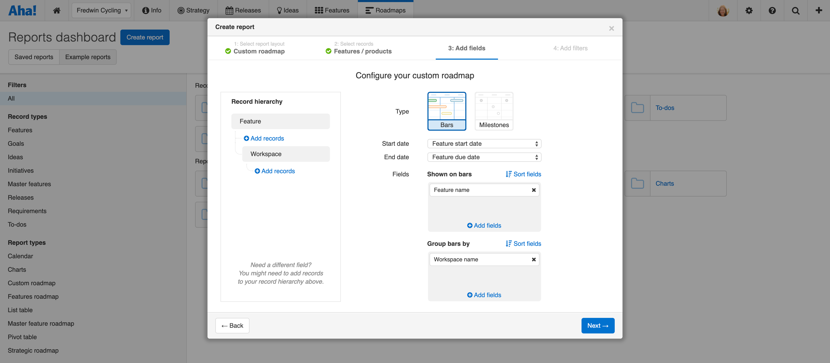 There are new configuration options for a custom roadmap.