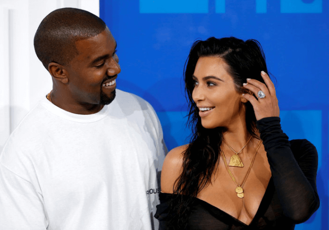 couple kim kardashian with kanye west photos