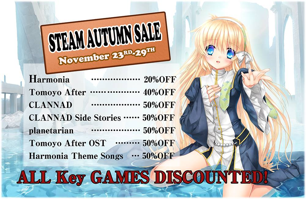 With the Steam Autumn Sale comes cheap Key games, and the chance to nominate CLANNAD for an award!