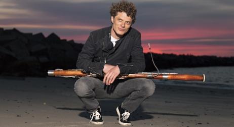 Bram holding bassoon
