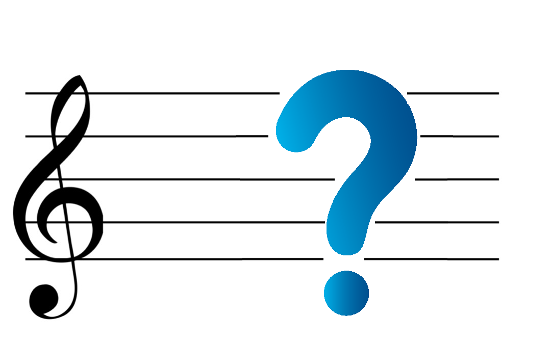 Music staff with question mark blue