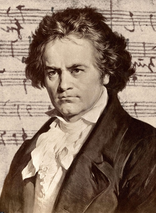 Beethoven with sheet music