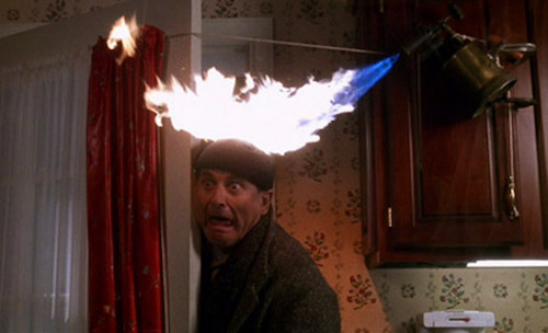 Home alone joe pesci blowtorch head fire