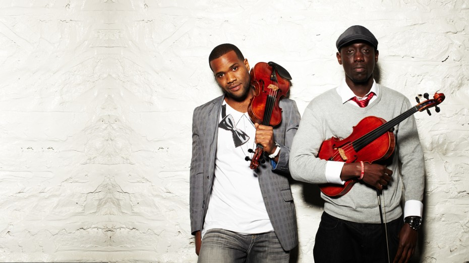 Black violin both men with instruments