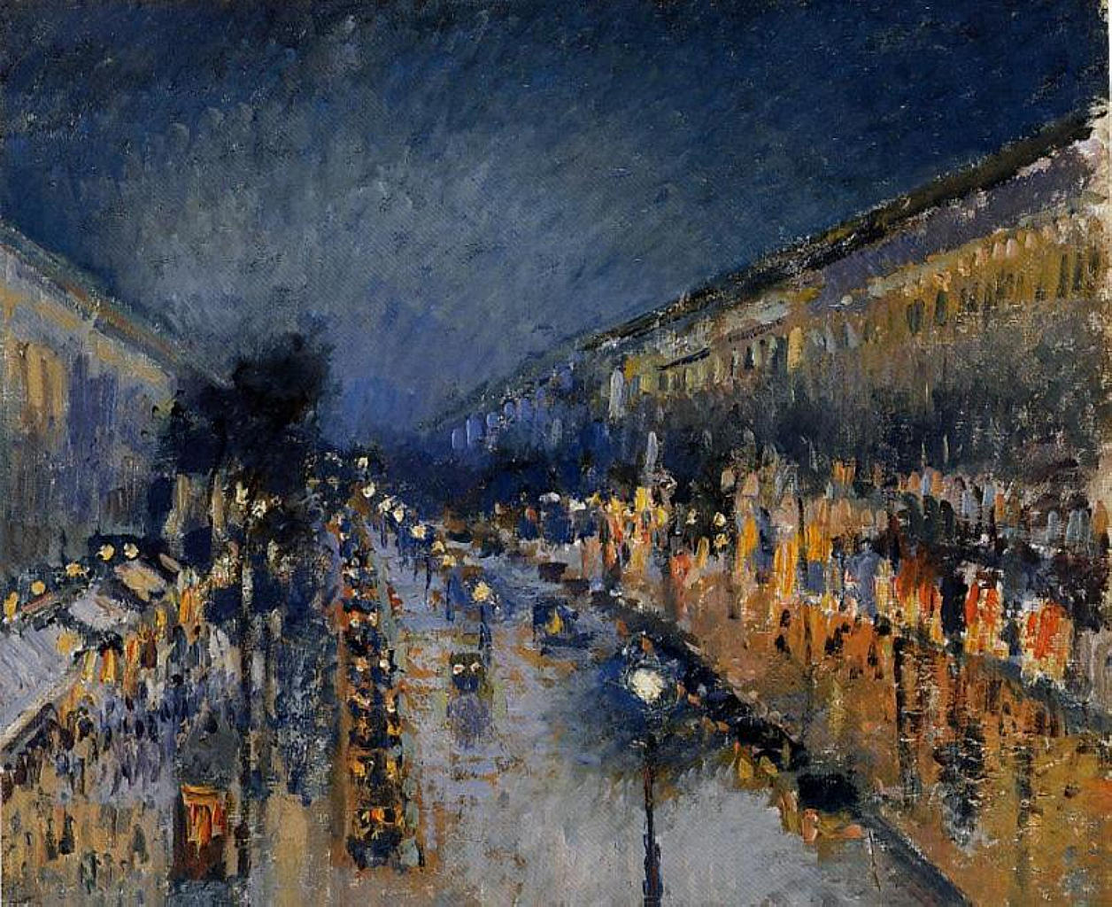 Pissarro the boulevard montmartre at night