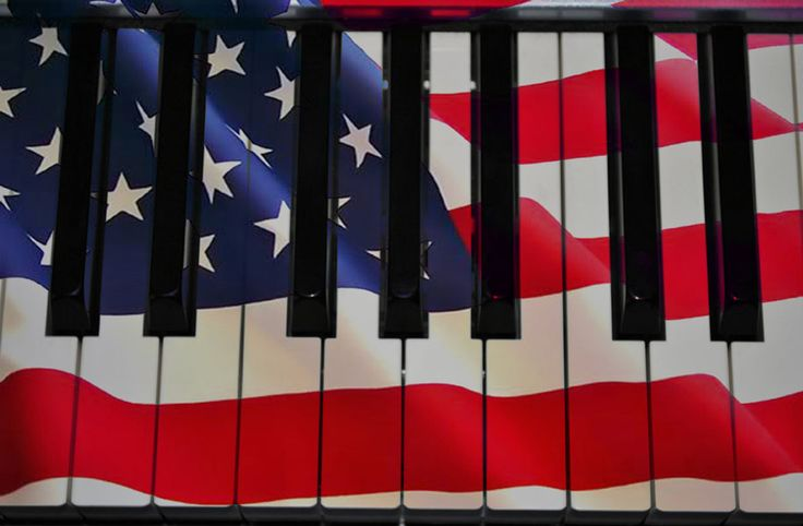 American flag with piano keys