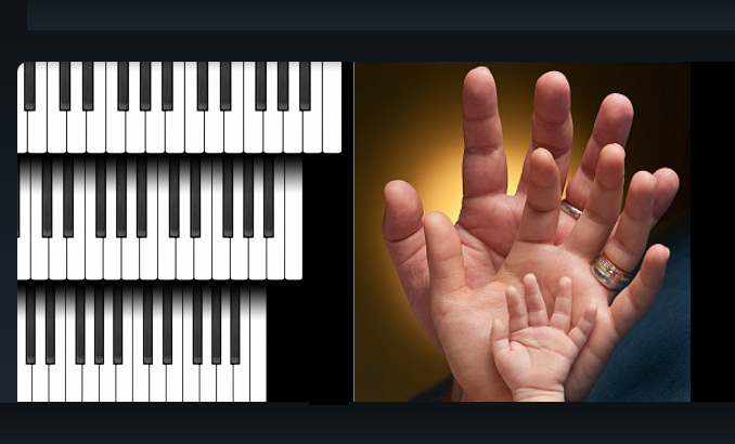 Piano keyboards with hands modified