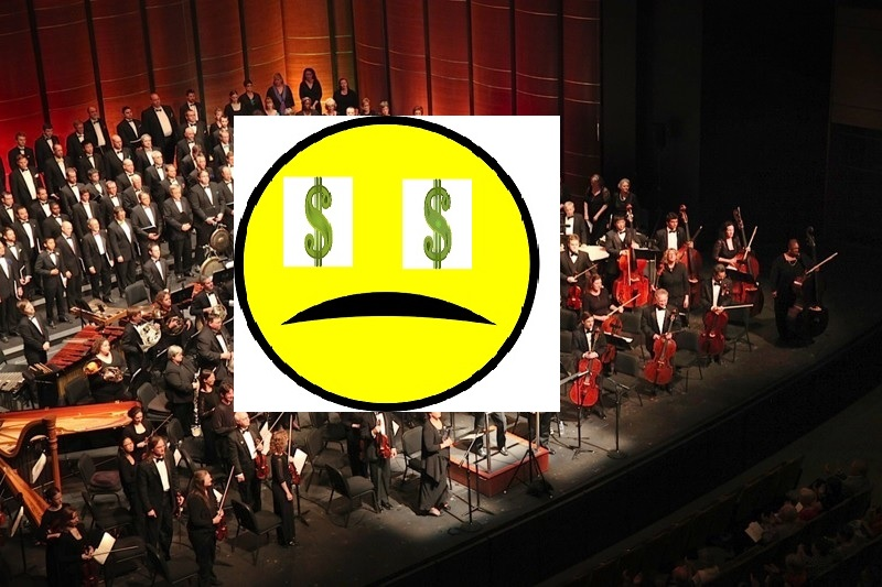 Austin symphony orchestra with sad dollar face