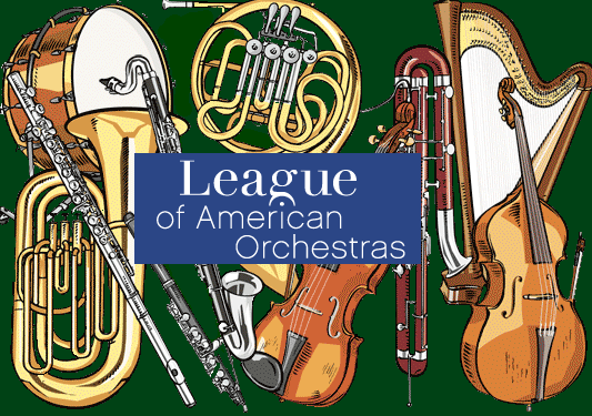 League of american orchestras logo with instruments