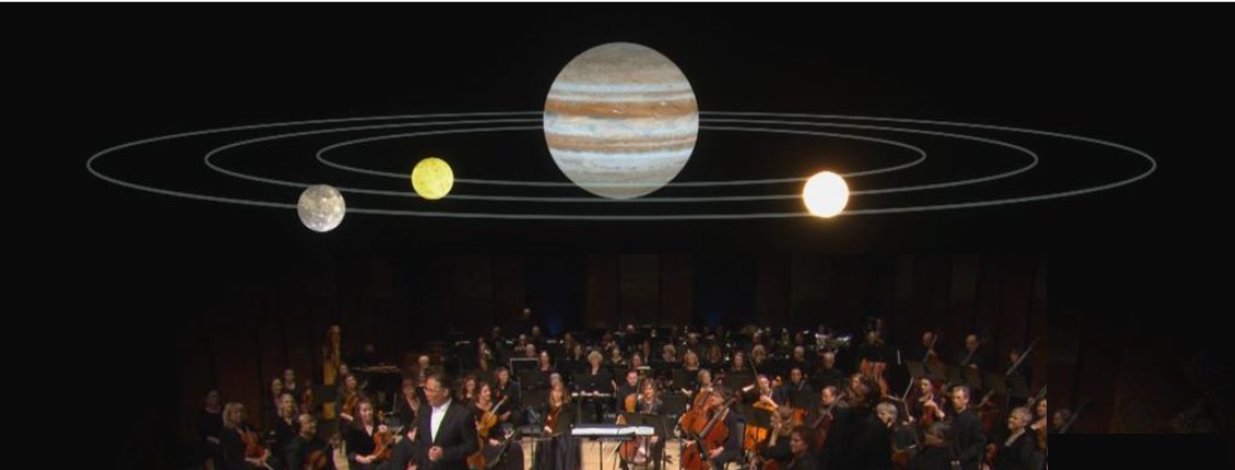 Music and math orchestra with solar system