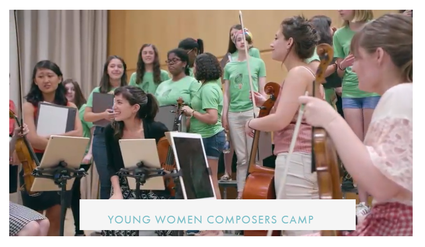Young women's composer campers 2018 w banner
