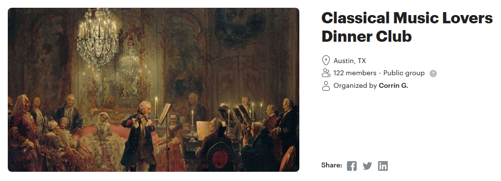 Classical music lovers dinner club photo