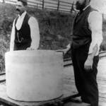 Two men at the Fallon Train stop with a 450 lb cheese destined for the 1894 Mid-Winter Fair in San Francisco <span>©  </span>