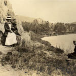 San Rafael residents Beatrice Howitt and Alice Oge at the San Rafael Canal September 1913