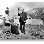 Sidney B. Cushing tips his hat to a sight-seer on Mt. Tam