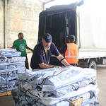 DRT volunteers sorting relief goods