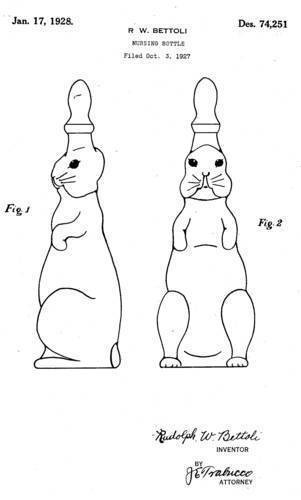 """Rudolph Betolli's patented design for a whimsical """"bunny rabbit"""" baby bottle, 1927 <span>© U.S. Patent Office </span>"""