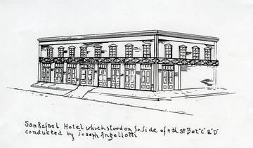 Sketch of Angellotti's San Rafael Hotel <span>&copy;  </span>
