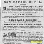1858 Advertisement for Angellotti's San Rafael Hotel <span>&copy;  </span>