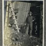 Well driller Joe Lewis at the oil well drilled in 1900 near Double Point on South Ranch.  After the operation shut down, Joe went to work for John Foster on the nearby Ingermann Ranch, located on the grounds of the Marconi radio station. <span>© Anne T. Kent Room </span>