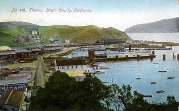 View of Tiburon with docked Ferry. <span>© Anne T. Kent Room </span>