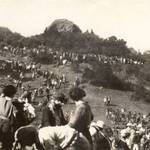 """1923 performance of """"Tamalpa"""" at the Mountain Theater. Pohli Rock rising up in the distance <span>&copy; Anne T. Kent Room </span>"""