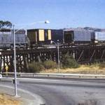"""Dirty Harry Bridge"" with train, c.1955 <span>&copy;  </span>"