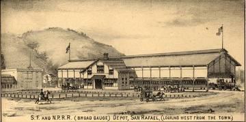San Rafael Railroad Depot, 1884 <span>© Anne T. Kent Room </span>