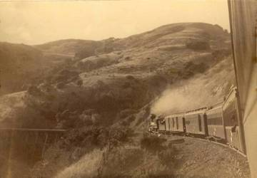 North Pacific Coast Railroad going over White's Hill, 1889 <span>&copy; Anne T. Kent Room </span>
