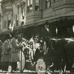 The Queen & her attends head towards the Court House at San Rafael's Grand Carnival, Sept. 9, 1908 <span>© Anne T. Kent Rm Staley </span>
