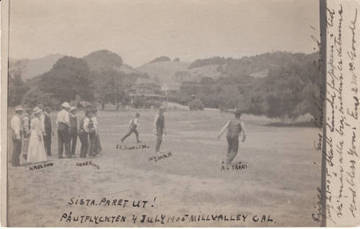 Swedish immigrants playing baseball in Mill Valley on the Fourth of July, 1905 <span>© Anne T. Kent Room </span>