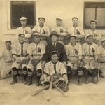 Chinese baseball team at San Quentin State Prison, dressed in Los Angeles uniforms, circa 1915 <span>© Anne T. Kent Room </span>