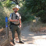 Open Space Ranger Mike Warner at the Citron-Loop Trail intersection <span>&copy; Richard Cunningham </span>
