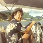 "Brian K. Crawford aboard ""Buttercup"" in Bora Bora, 1984 <span>&copy; Brian K. Crawford </span>"