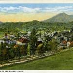 Early 20th Century color postcard of San Rafael with Mt. Tam in the distance. <span>&copy; Anne T. Kent Room Staley </span>