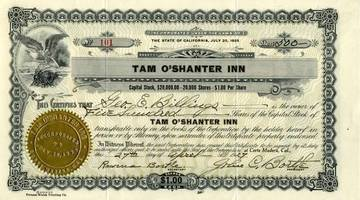 500 Shares of Stock for the Tam O'Shanter Inn to Geo. E. Billings, April 27, 1927 <span>&copy; Anne T. Kent Room </span>
