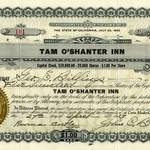 500 Shares of Stock for the Tam O'Shanter Inn to Geo. E. Billings, April 27, 1927