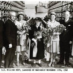 Nancy & Martye Kent flanking their grandmother Elizabeth Thacher Kent at the launch of the S.S. William Kent, 1942. <span>© Anne T. Kent Room </span>