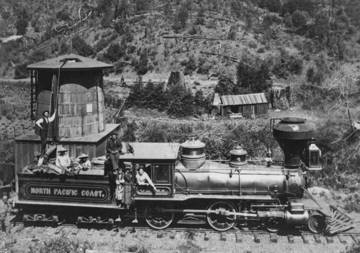 Early NPCRR locomotive and tender west of Lagunitas, where much damage was done to the canyon. <span>© Jack Mason Museum </span>