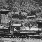 Early NPCRR locomotive and tender west of Lagunitas, where much damage was done to the canyon.