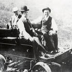 """Inspection run on """"Black Maria,"""" Motor Car No. 1., designed for local service in Blithedale Canyon & made from a Thomas Flyer auto. Bill Thomas at right. Crookedest Railroad p. 47. <span>&copy; Mrs. Ada Brown </span>"""