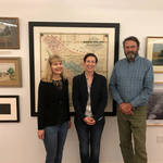 Laurie, Carol & Dewey in front of 1873 Marin County Map, 2017. <span>&copy; Anne T. Kent Room </span>